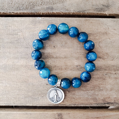 "12mm cobalt blue agate beads 1"" round vintage sterling silver Miraculous Mary medal"