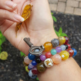 protection bracelet stack on wrist fire agates & jade vintage key charm