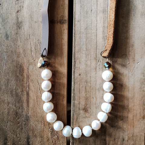"leather 13mm natural freshwater pearls topaz vintage crystals and brass hardware over head 24"" long handmade necklace"