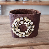 "2.5"" wide brown leather cuff vintage gold color rhinestone brooch embellishment bracelet"