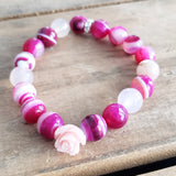 10mm deep pink agate beads carved rose bead bracelet