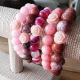 pink gemstone beads pink carved rose beads bracelets