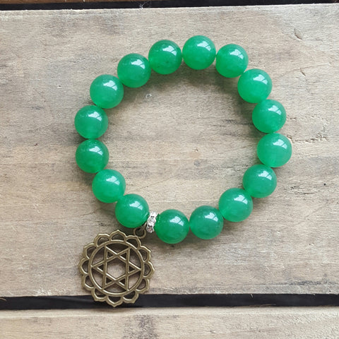 protection bracelet green jade 14mm beads brass heart chakra charm
