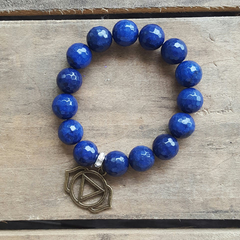 protection bracelet indigo jade 14mm beads brass perception chakra charm