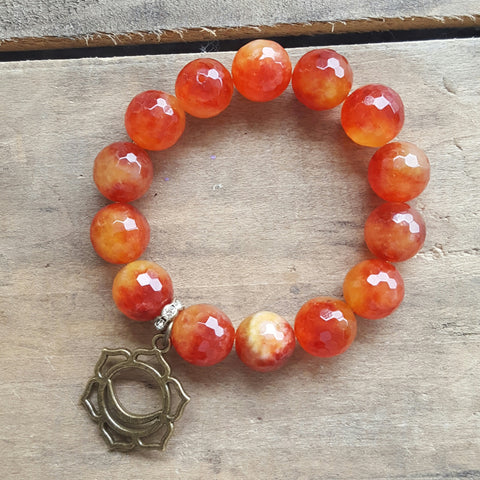 protection bracelet orange fire agate 14mm beads brass sacral chakra charm