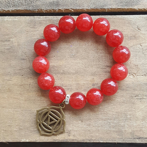 protection bracelet red jade 14mm beads brass root chakra charm