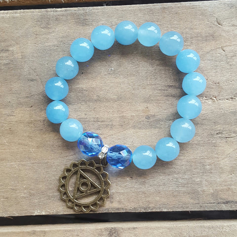 protection bracelet sky blue jade 12mm beads brass expression chakra charm
