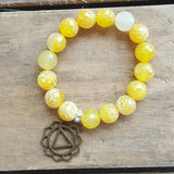 protection bracelet yellow fire agate 14mm beads brass power chakra charm