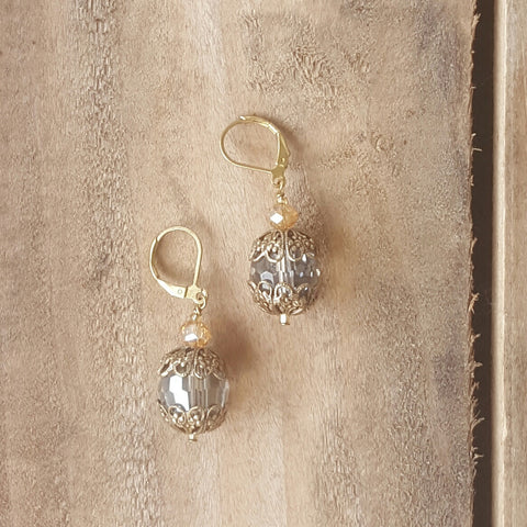 "Marinella jewelry drop earrings 1"" long smokey glass bead vintage brass caps Swarovski crystals brass ear wires"