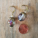 "14 mm Czech bead crystals dusty rose; color vintage brass caps 1"" long dangle earrings"