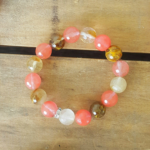 protection bracelet by Marinella 12mm cherry quartz beads mix of pinks caramels
