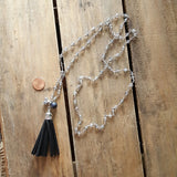 Protection Necklace crystal rosary chain w black sueded tassel & protection stones removeable pendant penny