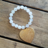 Protection Bracelet cloud agate or jade w XL stamped brass heart love languages charm