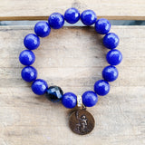 "12mm cobalt blue agate beads with 1 blue prayer bead bracelet 1"" round St. Expeditus Medal"