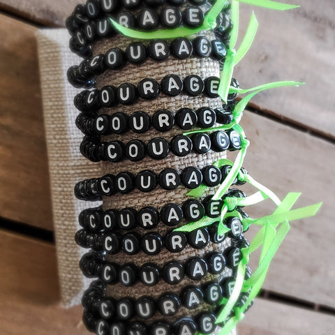 6mm Czech hematite glass tube beads w letter beads bracelets to form phrases of choice COURAGE