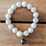 14mm white lace agate beads stretch bracelet 13mm peacock color freshwater pearl drop bracelet