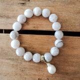 12mm white lace agate beads stretch bracelet 13mm freshwater pearl drop bracelet