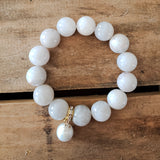 14mm white lace agate beads stretch bracelet 13mm freshwater pearl drop bracelet