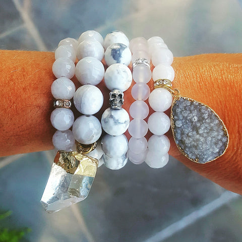 Protection Bracelets by Marinella white variety stack of 5 bracelets 8mm to 14mm