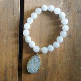 "Protection bracelet by Marinella 10mm powder white jade w 2"" tear drop shaped druzy charm"