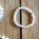 Protection Bracelet by Marinella 8mm matte cloud white agate rhinestone roundel