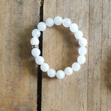 Protection Bracelet by Marinella 10mm powder white jade rhinestone roundel
