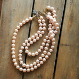 "Marinella jewelry signature triple layer XL 12mm glass pearl necklace soft rose' color approx 20"" long"