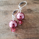 "12mm glass pearls approx 1"" long dangle dusty pink color earrings"