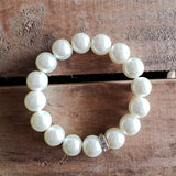 quality stretch bracelet ivory 12mm glass pearl beads