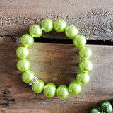 quality stretch bracelet lemon green 12mm glass beads