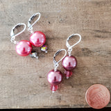 "12mm glass pearls approx 1"" long dangle hot pink color earrings"