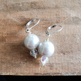 "12mm glass pearls approx 1"" long dangle silver color earrings"