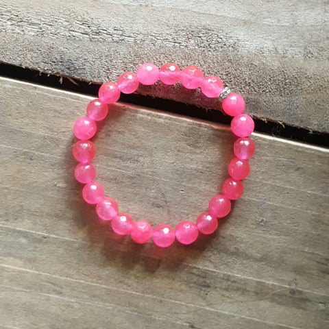 hot pink jade protection stone bracelet w rhinestone closure
