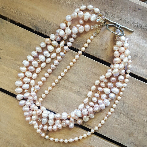Mj siganture layered blush freshwater pearls Swarovski crystal bridal necklace