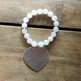 Protection Bracelet cloud agate or jade w XL stamped pewter heart love languages charm