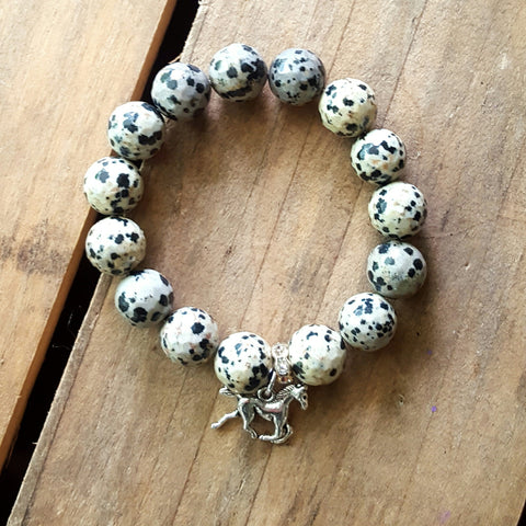 protection bracelet dalmatian jasper 12mm quality stretch with silver galloping horse charm