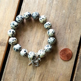 protection bracelet dalmatian jasper 12mm quality stretch with silver galloping horse charm penny