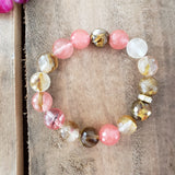 12mm faceted cherry quartz bead bracelet