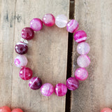 12mm faceted magenta striped agate bead bracelet