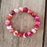 12mm faceted magenta orange striped agate bead bracelet