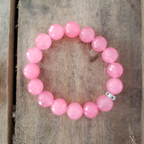 12mm faceted bright pink jade bead bracelet