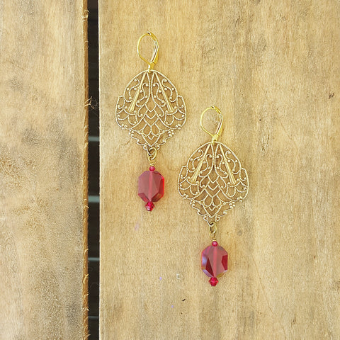 "earrings by Marinella jewelry vintage brass filigree Swarovski deep pink crystals 21/2"" long dangles"