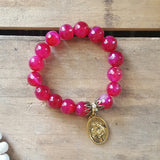 "protection bracelet by Marinella 12mm magenta agate beads 1"" brass oval Holy Family medal vintage brass caps"