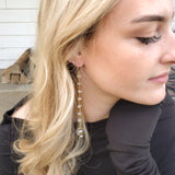 "7"" long brass rosary chain 15mm Swarovski crystal ball and freshwater pearl drop duster earrings on model"