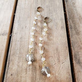 "7"" long brass rosary chain 15mm Swarovski crystal ball and freshwater pearl drop duster earrings"