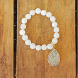 "protection bracelet by Marinella 10mm powder white jade beads 2"" white tear drop Druzi charm"