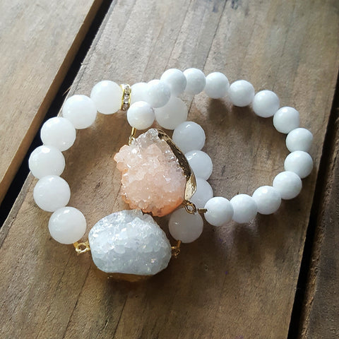 Protection bracelets Druzy agate crystal centers two styles shown