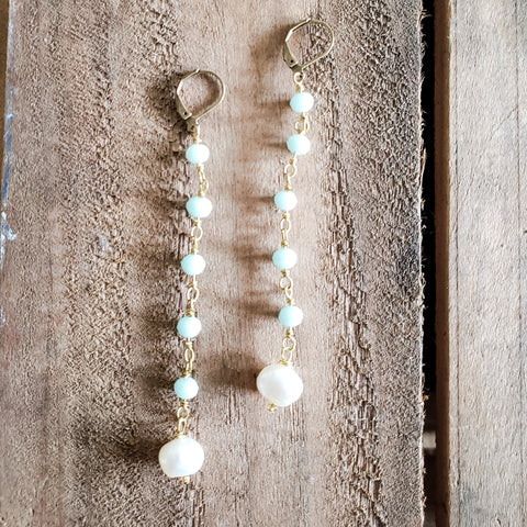 "10mm sky blue beads brass rosary chain & freshwater pearl 4"" long duster earrings"