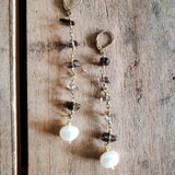 "10mm smoke quartz gemstone chips brass rosary chain & freshwater pearl 4"" long duster earrings"