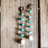 "10mm turquoise gemstone chips beads brass rosary chain & freshwater pearl 4"" long duster earrings"